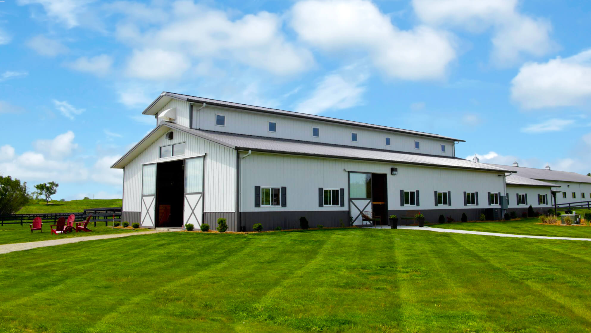 Agricultural steel building on a farm